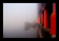 the albert dock (Maddie Digital) Tags: city red mist weather fog liverpool boats dock waterfront quay pillars albertdock vessels quayside
