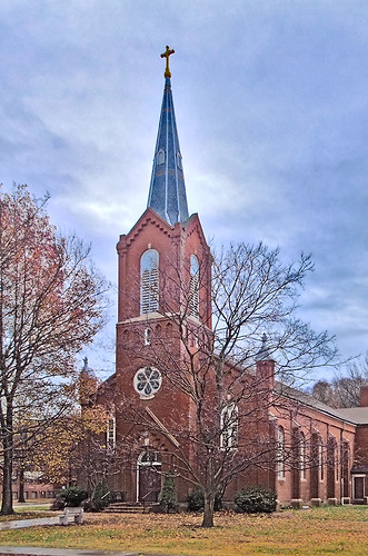 Saint Joseph Roman Catholic Church, in Prairie du Rocher, Illinois, USA - exterior front.jpg