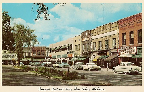 State Street and North University in 1957 -- chrome postcard by Haight