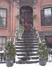 Brownstone Stoop (icelight) Tags: christmas snow boston southend brownstone deccorations