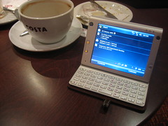 the HTC Advantage in it's normal PDA mini-laptop mode