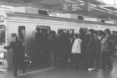 Nikotama Rush (yamuhaton) Tags: blackandwhite film rushhour nikomat futakotamagawa nikotama ft2 trix400tx