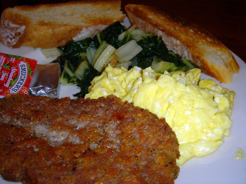 Scrambled Eggs with Italian Sausage and Swiss Chard