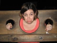 Jenny in the stocks (Nathan & Jenny) Tags: j disney stocks frown waltdisneyworld orlandofl pillory piratesprincessesparty