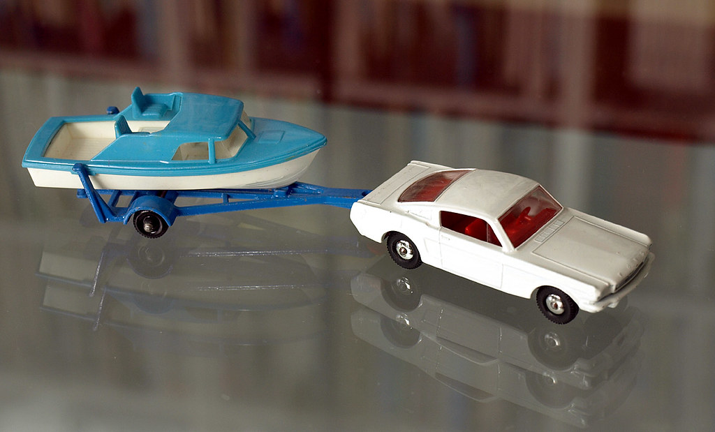 Matchbox Ford Mustang with boat trailer