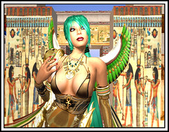 Alles is Isis in Promised Land (Alles Klaar) Tags: woman beauty necklace wings goddess secondlife isis ancientegypt windlight