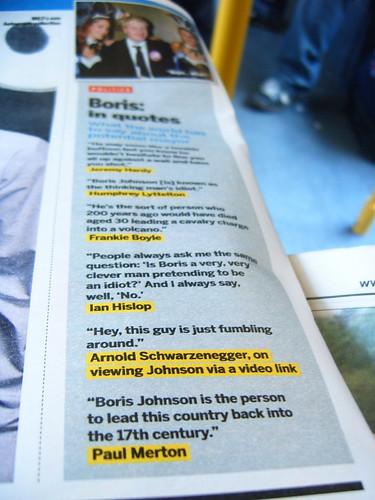 Boris quotes in shortlist magazine