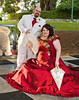 red dress red wedding dress red bridesmaid style red groomsmen style white groomsmen style photo