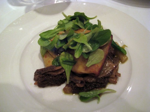 Vie, Chicago, Morel Crepes, Green Garlic Vinaigrette, Local Bordeaux Spinach