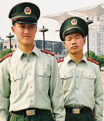Shanghai soldiers (Alex Cheal) Tags: china red portrait army asia shanghai young communist soldiers attention fareast officer geographic gren uninterested archiveshots