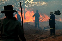 Back burning in Krugar (Pat The Plant) Tags: africa park people men animals fire photo back women south safety help burn national firemen twisted starters krugar