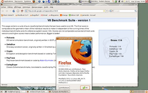 114 points au test v8 pour Mozilla Firefox 3.0