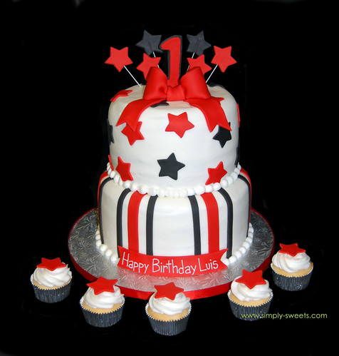 black and red 1st birthday 2 tiered cake