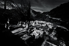 (Der Wunderbare Mandarin) Tags: lucid lightsandshadows bw cemetary mountains eerie home heartland inpacerequiescat wideangle traveling old abandoned dark gothic