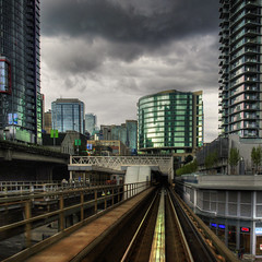 Clear Destination (ecstaticist) Tags: city urban cloud architecture vancouver high dynamic angle map transportation commute destination skytrain mapping range tone hdr tonemapped