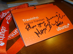 My UDS Badge signed by Mark Shuttleworth