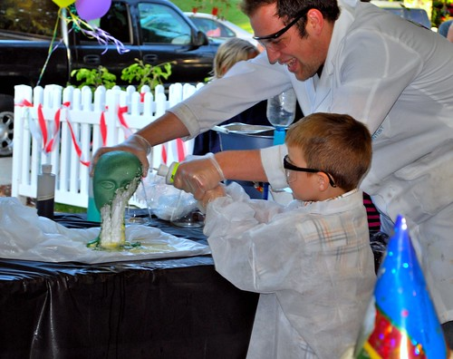 Angry Kid does science experiments at his Mad Science Birthday Party