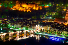 Toy City (Shoeven) Tags: world street old city bridge blue light sky orange blur streets reflection green castle church stone night reflections river germany out lights town miniature nikon focus europe bokeh small shift mini historic hour tiny and streams tilt hdr neckar tiltshift d7k d7000 theidelberg