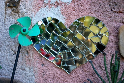 glass heart mosaic by good mood factory