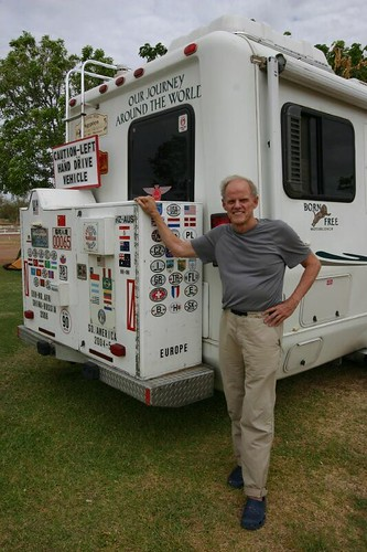 "Californian Larry, a cool and highly interesting ""mobilhome RTW traveller"" on his 6th year..."