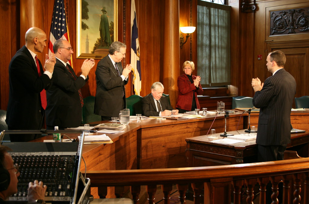 Mayor Charles Ryan receives applause at his final control board meeting. Photo by HB