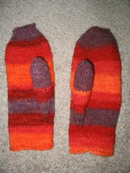 My first handspun mittens