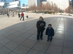 Reflections in the bean (Missy Luick) Tags: christmas family chicago millenniumpark luick