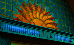 Sunshine (Canicuss) Tags: blue red orange green glass sunshine photoshop gold golden mo kansascity theplaza tiles missouri kc 116 theoffbeat canicuss