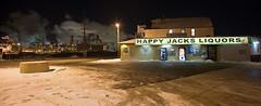 Happy Jacks Liquors and BP (metroblossom) Tags: winter snow night store indiana liquor oil bp refinery liquorstore whiting oilrefinery happyjacksliquors img9920mjpg northwesternindiana