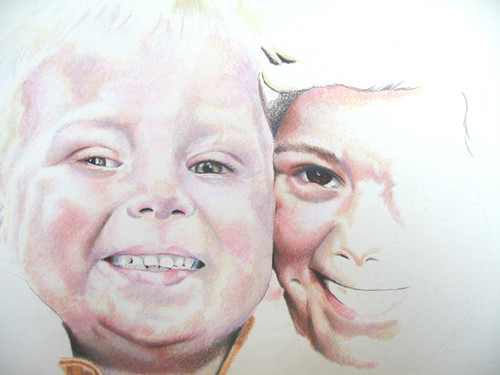 In progress scan of colored pencil drawing entitled Nate & Hannah