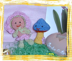 Rose and Mushroom (Ruby's World) Tags: mushroom rose garden crochet gourmet amigurumi