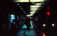 Subway, NYC, Feb 2008 (shaxmd) Tags: nyc newyork color night train underground subway noir publictransportation metro slidefilm velvia commuter canonfx canonfdlens