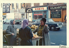 Ladies and Vegetables (ColleenM) Tags: street old ireland dublin vegetables shop shopping women all group vendor doyle 1972 003 turf kirbys kodacolor countydublin vendors pye irishstreet accountants kodakpony135 postcardireland kilmartins csmlabel