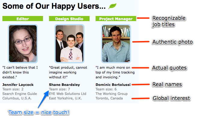 Freshbooks Homepage - Annotated