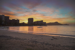 Waikiki Sunrise (hitmanfre1) Tags: hawaii oahu honolulu ocean beach waves boat red orange blue green color sand pacific sun sunrise skyline mountain nikon nikond3200 d3200 morning dawn clouds mood