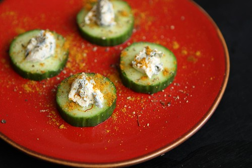 Curried Cucumber Rounds with St. Agur Bleu