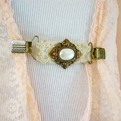Vintage Lace Cameo Sweater Clip (jessjamesjake) Tags: wedding summer white france vintage french gold sweater women lace brooch clip waist cameo pearl accessories clasp etsy boho bohemian nip pearled nipped jessjamesjake guardorstole