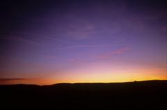 sunset from my garden #29 (Ron Layters) Tags: leica blue trees sunset red england orange silhouette clouds evening countryside interesting glow unitedkingdom peakdistrict slide explore transparency 10k fujichrome 5k highpeak r6 whaleybridge leicar6 ronlayters slidefilmthenscanned brinkbrow highestpositioninexplore83onfridaymarch142014