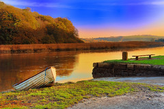 Boat on a slipway with the sun setting autumn view COTEHELE NEAR PLYMOUTH (spw6156) Tags: autumn sun fall boat with view autum near plymouth setting slipway cotehele omot httpwwwflickrcomgroupsexcellentphotographer httpwwwflickrcomgroups467137n21 httpwwwflickrcomgroupsrosacelo spw6156 copyrightstevewaterhouse
