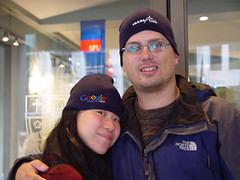 Karen and I Wearing Our TransLink/Google Transit Hats