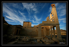 Bank at sunset - Rhyolite, Nevada 6512-19 (CameraOne) Tags: sunset ruins desert nevada bank wideangle ghosttown canon5d rhyolite canon1740mm anawesomeshot colourartaward excapture