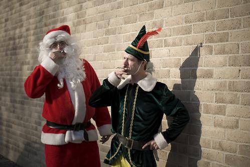 santa and helper take a smoke break