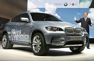 BMW CEO Norbert Reithofer presents the BMW concept X6 Active Hybrid car.