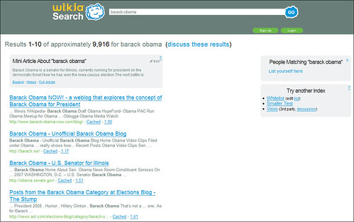 Wikia Search for Barack Obama