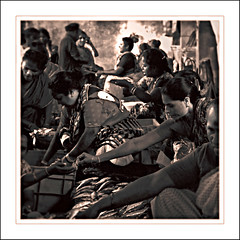 toil (ladyinpink) Tags: people india sepia women market pondicherry toil