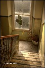 Broken Window (Obi Juan Kinobi) Tags: morning sunlight broken window lines stairs daylight edinburgh close perspective angles stairwell indoors hdr tenement nikond80