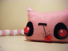 Pasie pink (loveandasandwich) Tags: pink white tongue cat tail stripe plush softie plushie sappastels