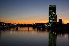 Frankfurt Sunset (Travel Aficionado) Tags: bridge sunset reflection river sonnenuntergang frankfurt main fluss reflektion abendrot blauestunde