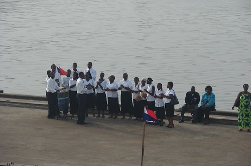 The band on the dock during arrival!
