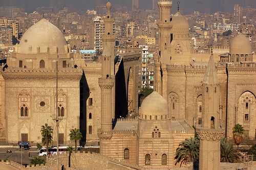 Madrassa of Sultan Hassan & Al-Rifa'i Mosque seen from the Citadel, Cairo